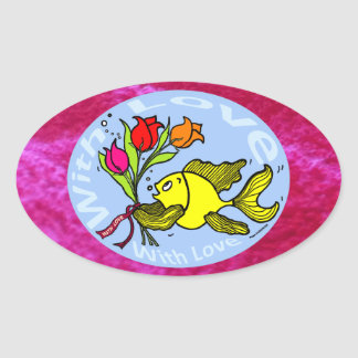 With Love Sparky Fish cute funny comic Gift Oval Sticker