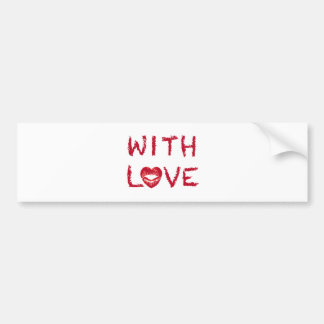With love text design with red heart lips bumper sticker