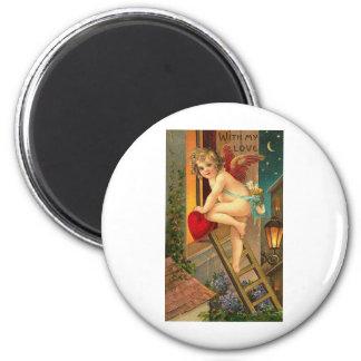 With My Love Cherub on Ladder Fridge Magnets
