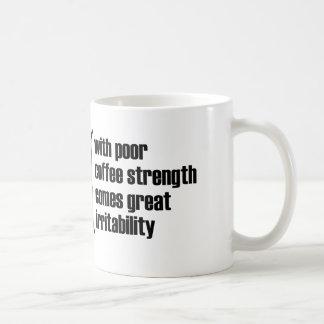 With poor coffee strength comes great irritability coffee mug