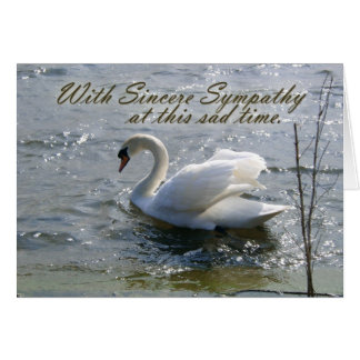 With Sincere Sympathy Swan Card