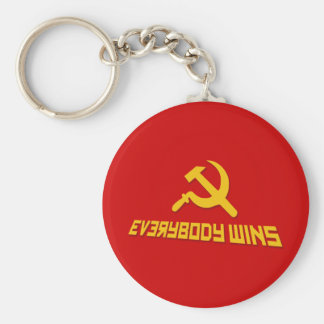 With Socialism Everybody Wins! Government Satire Basic Round Button Key Ring
