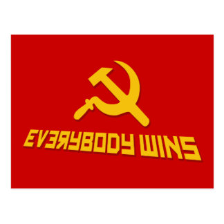 With Socialism Everybody Wins! Government Satire Postcard