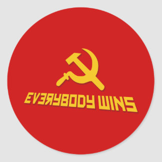 With Socialism Everybody Wins! Government Satire Round Sticker
