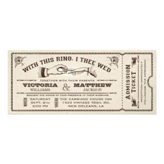 With This Ring Vintage Wedding Ticket Invitation