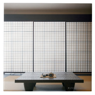 with wooden table and modern style tatami : large square tile
