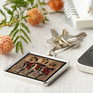 Withering Cancan Silver-Colored Square Key Ring