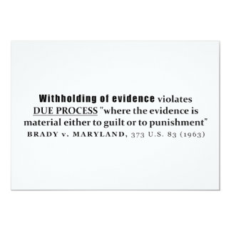 Withholding of Evidence Brady v Maryland Case law 13 Cm X 18 Cm Invitation Card