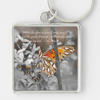 Within the glow of your Loving... Silver-Colored Square Key Ring