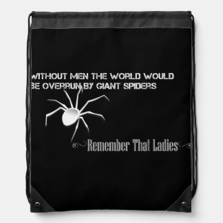 """Without Men"" Stringbag Inverted - Funny Quote Drawstring Bag"