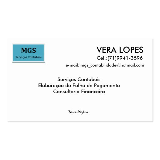 Without title, VERA LOPES, email: mgs_contabilida… Business Card