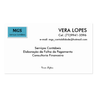 Without title, VERA LOPES, email: mgs_contabilida… Pack Of Standard Business Cards