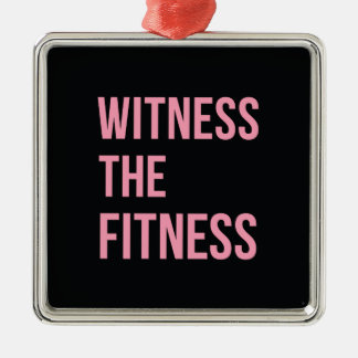 Witness The Fitness Funny Quote Black Pink Christmas Tree Ornament