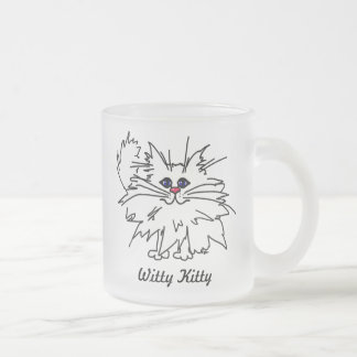 Witty Kitty 10oz Frosted Glass Mug