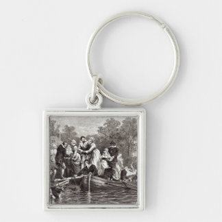 Wives for the Settlers at Jamestown Silver-Colored Square Key Ring