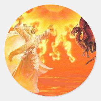 Wizard and Dragon. Classic Round Sticker