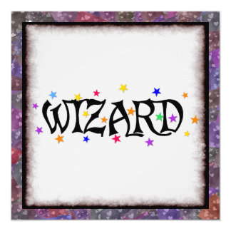 Wizard and Stars 13 Cm X 13 Cm Square Invitation Card