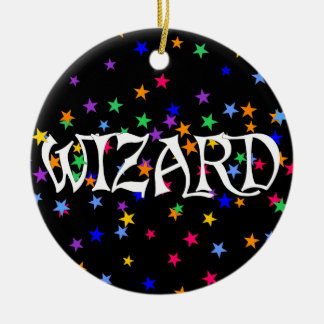 Wizard and Stars Round Ceramic Decoration