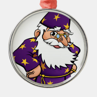 Wizard Cartoon Character Silver-Colored Round Decoration