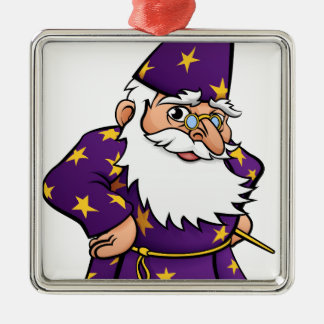 Wizard Cartoon Character Silver-Colored Square Decoration