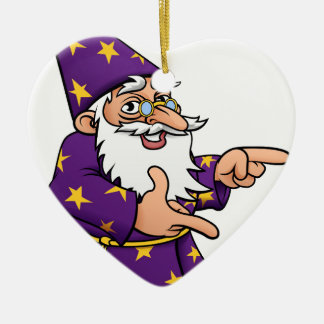 Wizard Cartoon Mascot Pointing Ceramic Heart Decoration