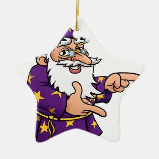 Wizard Cartoon Mascot Pointing Ceramic Star Decoration