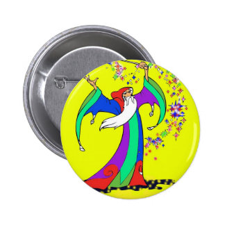 Wizard casting colorful spells with magic wand 6 cm round badge