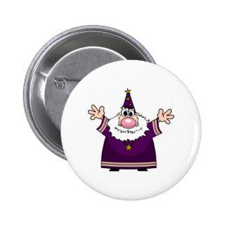 Wizard casting spell 6 cm round badge