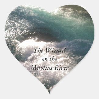 Wizard Falls on the Metolius River Heart Sticker
