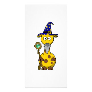 Wizard Giraffe Cartoon Custom Photo Card