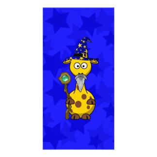 Wizard Giraffe Cute Cartoon Custom Photo Card