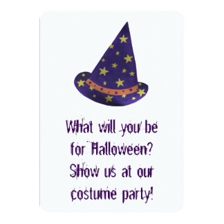 Wizard Hat Halloween Costume Party Invitations