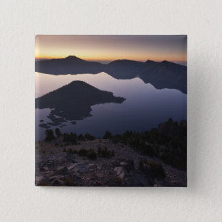 Wizard Island at dawn, Crater Lake National Park 15 Cm Square Badge