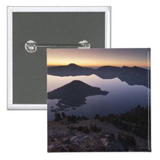 Wizard Island at dawn, Crater Lake National Park 15 Cm Square Badge