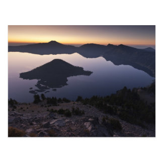 Wizard Island at dawn, Crater Lake National Park Postcard