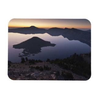Wizard Island at dawn, Crater Lake National Park Rectangular Photo Magnet