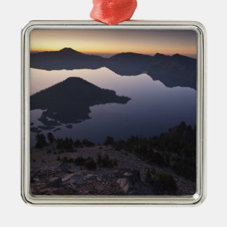 Wizard Island at dawn, Crater Lake National Park Silver-Colored Square Decoration