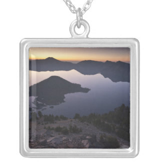 Wizard Island at dawn, Crater Lake National Park Square Pendant Necklace