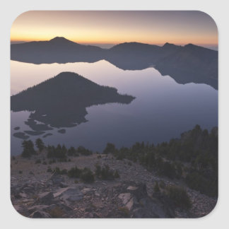 Wizard Island at dawn, Crater Lake National Park Square Sticker