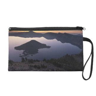 Wizard Island at dawn, Crater Lake National Park Wristlet Purse