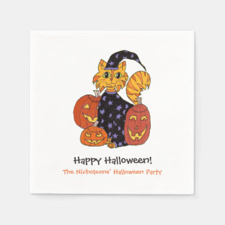 Wizard Kitty Cat and Pumpkins Halloween Party Paper Serviettes