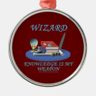 Wizard: Knowledge is My Weapon Silver-Colored Round Decoration