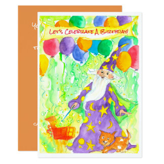Wizard Magic Balloons Birthday Party Invitation