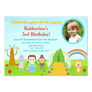 Wizard Of Oz Birthday Invitation 5x7 Photo Card