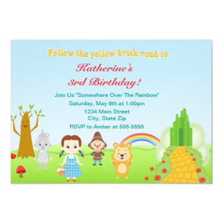 Wizard Of Oz Birthday Party Invitation 5x7 Card