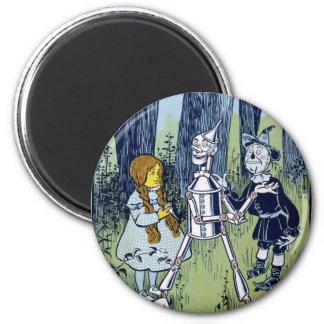 Wizard of Oz Dorothy Tin Woodsman Scarecrow 6 Cm Round Magnet