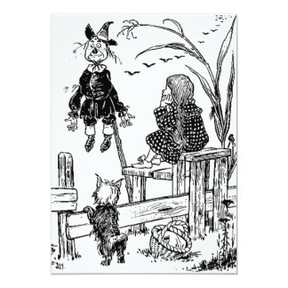 Wizard of Oz Dorothy Toto and the Scarecrow 13 Cm X 18 Cm Invitation Card