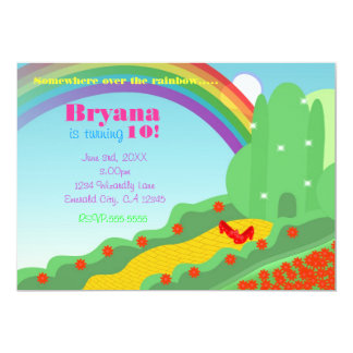 Wizard of OZ Emerald City Slippers Birthday Party 13 Cm X 18 Cm Invitation Card