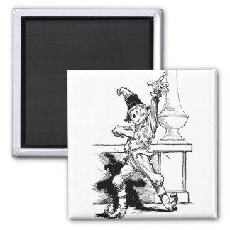 Wizard of Oz Scarecrow Vintage Illustration Square Magnet