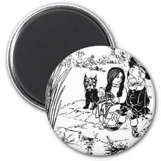 Wizard of Oz Toto, Dorothy and Scarecrow 6 Cm Round Magnet